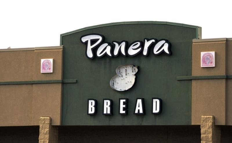The sign on the hood of a delivery truck for Panera Bread Co. is seen in Westminster