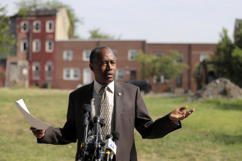 HUD Secretary Ben Carson speaks during a news conference after touring the Hollins House, a high rise building housing seniors and persons with disabilities. (Photo: AP Photo/Julio Cortez)