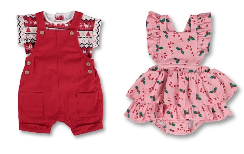 Best & Less frilly pink romper and red overalls with a matching patterned Christmas T-shirt. Source: Best $ Less