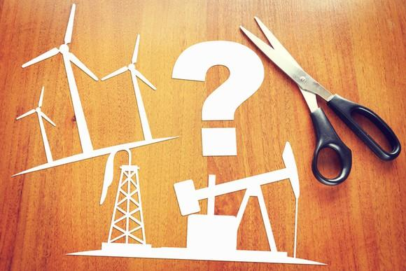 Paper cutouts of wind turbines, oil drilling, and a question mark on a desk next to a pair of scissors.