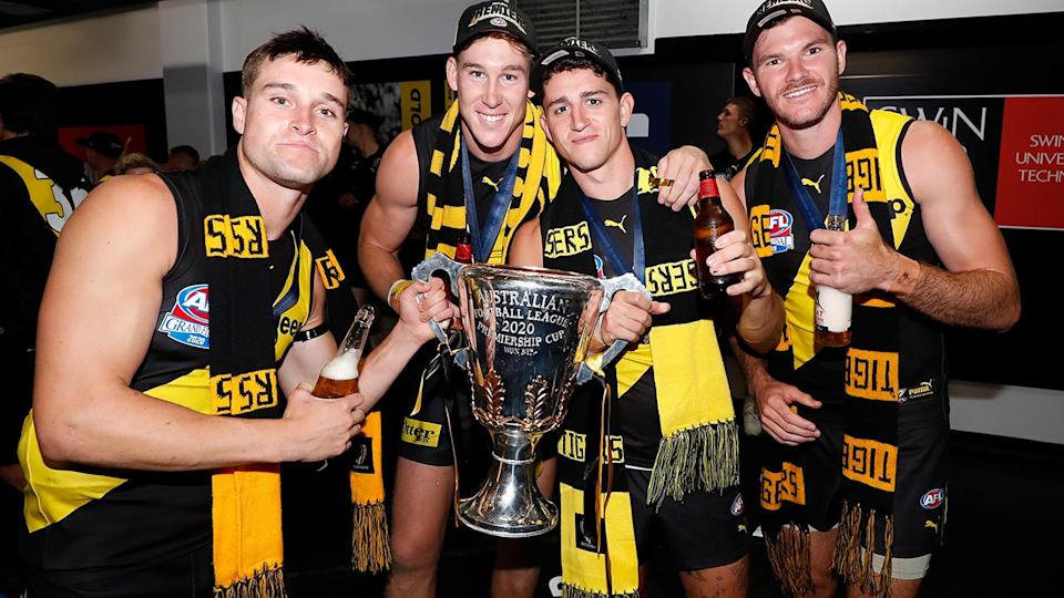 Jayden Short, pictured here celebrating with Richmond teammates after the AFL grand final.