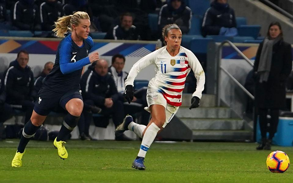 Mallory Pugh of United States attacking against Amandine Henry of France during the International Women's friendly football match between France and United States at Stade Ocane du Havre on January 19th in Le Havre, France (Photo by Action Foto Sport/NurPhoto via Getty Images)