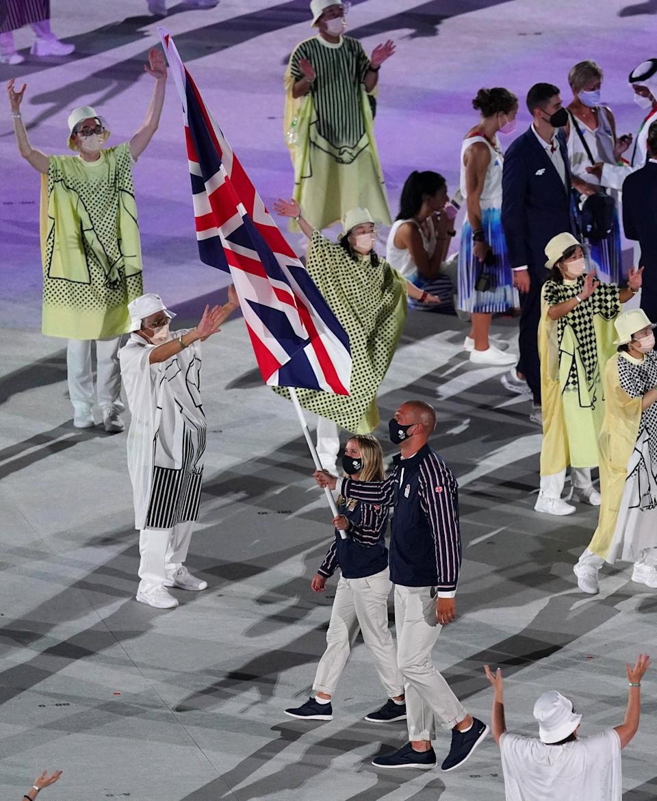 Hannah Mills carried the flag with Mohamed Sbihi during the opening ceremony (PA) (PA Wire)