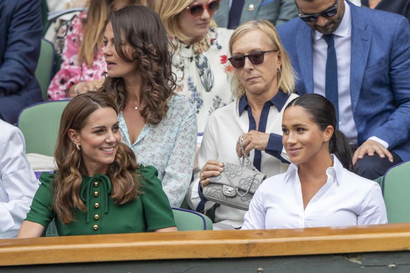 Catherine, Duchess of Cambridge and Meghan, Duchess of Sussex in the Royal Box on Centre Court along with Martina Navratilova and her spouse Julia Lemigova during the Serena Williams of the United States match against Simona Halep of Romania during the Ladies Singles Final on Centre Court during the Wimbledon Lawn Tennis Championships at the All England Lawn Tennis and Croquet Club at Wimbledon on July 13, 2019 in London, England.