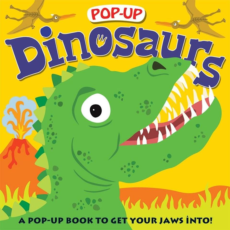<p><span><strong>Pop-Up Dinosaurs</strong></span> ($10) has rhymes about giant prehistoric creatures and five big dinosaur pop-ups that jump out from the pages.</p>