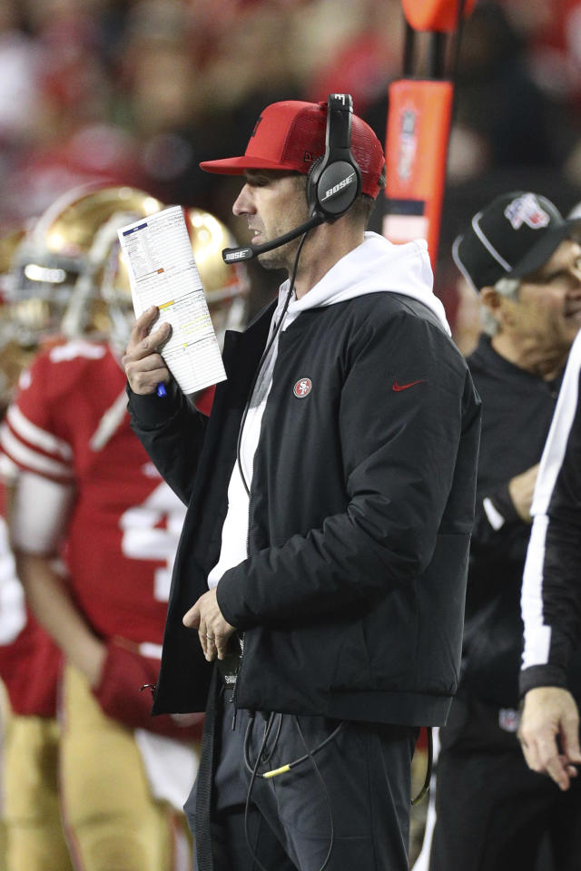 San Francisco 49ers head coach Kyle Shanahan calls a play during the NFL NFC Championship football game against the Green Bay Packers, Sunday, Jan. 19, 2020 in Santa Clara, Calif. The 49ers defeated the Packers 37-20. (Margaret Bowles via AP)