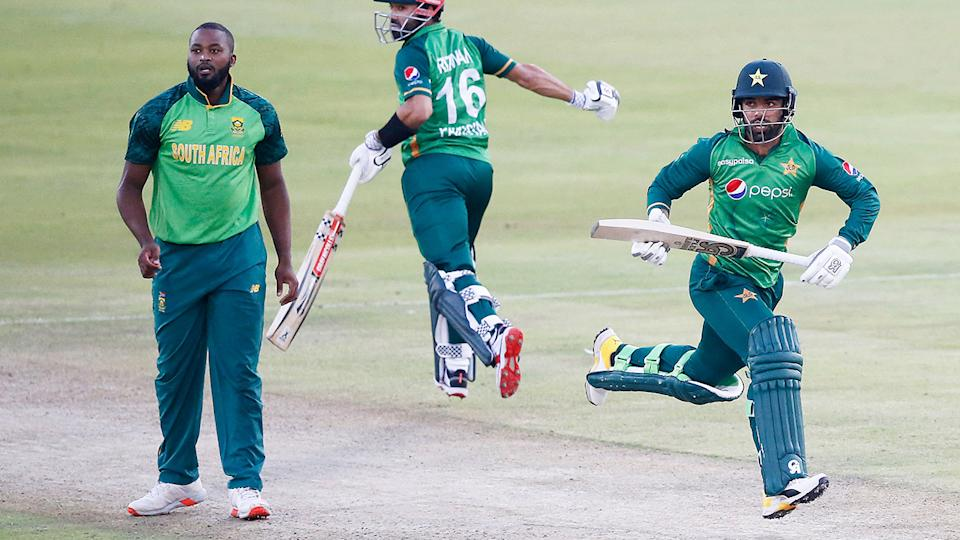 Cricket fans were quick to point out just how similar South Africa and Pakistan's ODI uniforms were in the first match of their ODI series. (Photo by PHILL MAGAKOE/AFP via Getty Images)