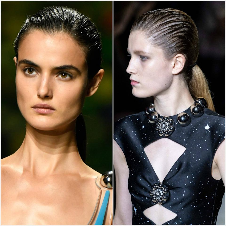 """If you're looking to give the humble ponytail some oomph, take a cue from the Christopher Kane show, where Guido Palau reworked the classic style with a bit of edge. Hair was gelled with <a href=""""https://shop-links.co/1684446008372816477"""" rel=""""nofollow"""">Redken Hardwear 16 Gel</a> and raked through with fingers into a low pony at the nape of the neck, giving the top of the head a textural, high-gloss finish while keeping the bottom natural. """"It looks quite futuristic and boyish,"""" he said."""