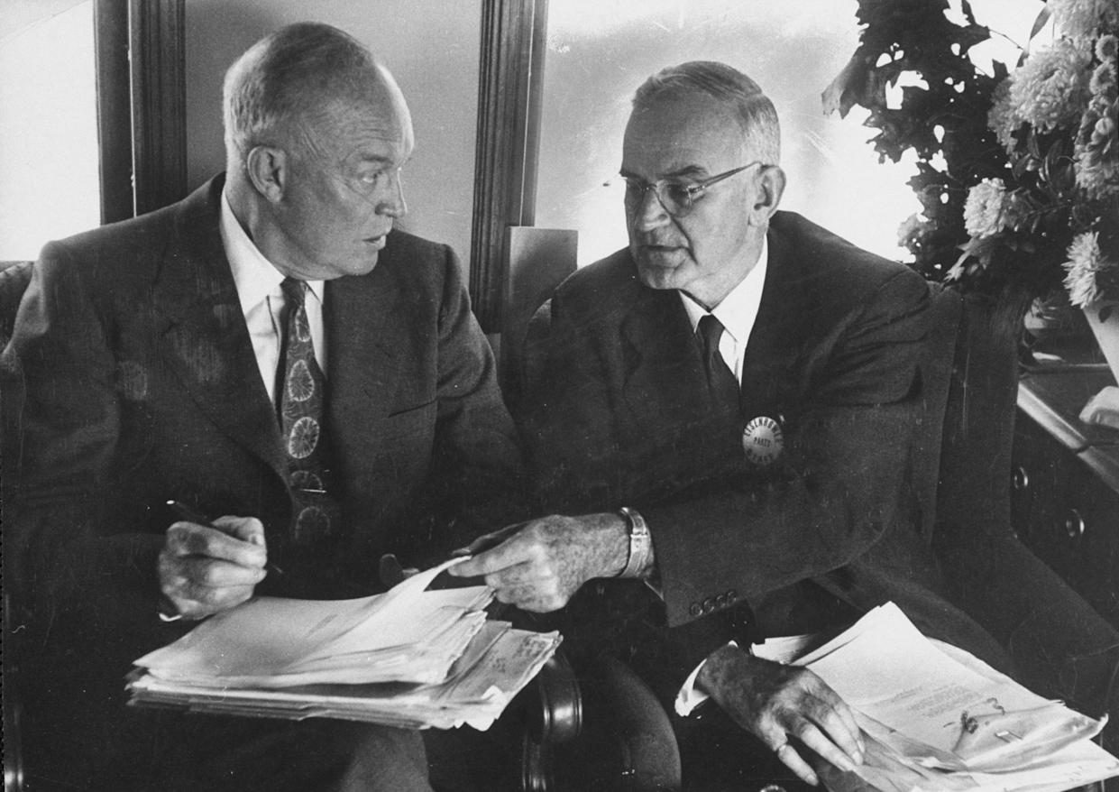 President Dwight D. Eisenhower, left, and Robert Cutler, his special assistant for national security affairs. (Photo: Joseph Scherschel/the Life Picture Collection/Getty Images)