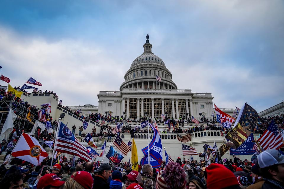 Trump supporters near the U.S. Capitol following a rally on Jan. 6. (Selcuk Acar/NurPhoto via Getty Images)