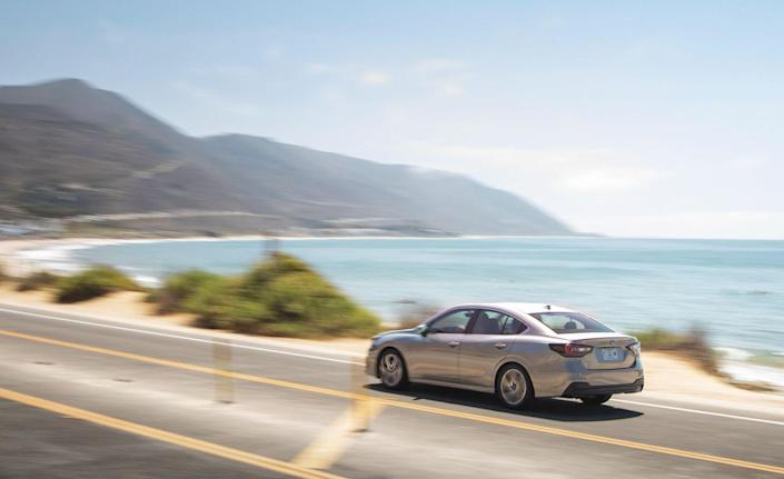 <p>Subaru improved the Legacy's cargo capacity for 2020 as well, and it can now fit four international-sized suitcases inside its trunk.</p>