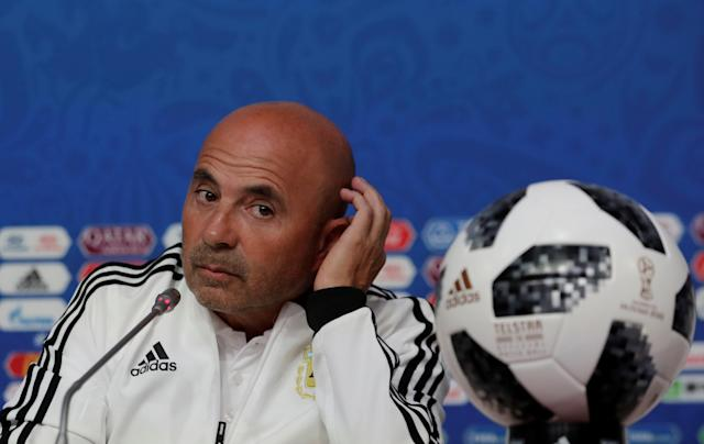 Soccer Football - World Cup - Argentina News Conference - Saint Petersburg Stadium, St. Petersburg, Russia - June 25, 2018. Argentina's coach Jorge Sampaoli during news conference. REUTERS/Henry Romero