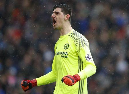 Chelsea's Thibaut Courtois celebrates their first goal
