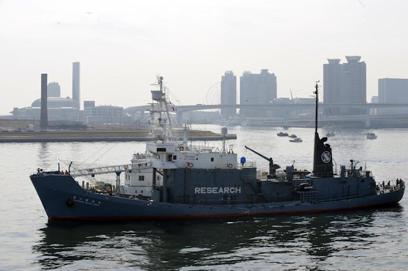 File photo taken on March 12, 2010 shows Japanese whaling vessel Shonan-maru No.2 in the Tokyo port