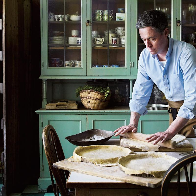 Gardener-turned-chef Aaron Bertelsen prepping the pastry for his pear tart.  - Credit: Andrew Montomgery