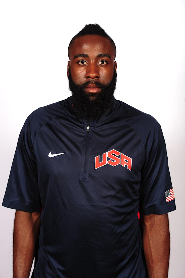 LAS VEGAS, NV - JULY 5: James Harden of the 2012 USA Basketball Men's National Team poses for a portrait at the Wynn Hotel during training camp on July 5, 2012 in Las Vegas, Nevada. NOTE TO USER: User expressly acknowledges and agrees that, by downloading and/or using this Photograph, user is consenting to the terms and conditions of the Getty Images License Agreement. Mandatory Copyright Notice: Copyright 2012 NBAE (Photo by Andrew D. Bernstein/NBAE via Getty Images)