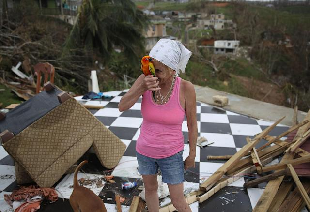 <p>Irma Maldanado stands with Sussury her parrot in what is left of her home that was destroyed when Hurricane Maria passed through on Sept. 27, 2017 in Corozal, Puerto Rico. (Photo: Joe Raedle/Getty Images) </p>