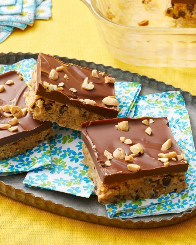 """<p>A traditional potluck is fun enough all on its own. But add a """"no-bake"""" twist, and you've got yourself a truly perfect summer celebration. P.S. You probably already have many of the ingredients for these chocolate peanut bars in your pantry.</p><p><strong><a href=""""https://www.thepioneerwoman.com/food-cooking/recipes/a57631/no-bake-peanut-butter-bars/"""" rel=""""nofollow noopener"""" target=""""_blank"""" data-ylk=""""slk:Get the recipe"""" class=""""link rapid-noclick-resp"""">Get the recipe</a>.</strong></p><p><a class=""""link rapid-noclick-resp"""" href=""""https://go.redirectingat.com?id=74968X1596630&url=https%3A%2F%2Fwww.walmart.com%2Fip%2FPioneer-Woman-Nonstick-Aluminum-Cookie-Sheet-11-x-17%2F723676077&sref=https%3A%2F%2Fwww.thepioneerwoman.com%2Fjust-for-fun%2Fg36599700%2Fsummer-party-ideas%2F"""" rel=""""nofollow noopener"""" target=""""_blank"""" data-ylk=""""slk:SHOP BAKING PANS"""">SHOP BAKING PANS</a></p>"""