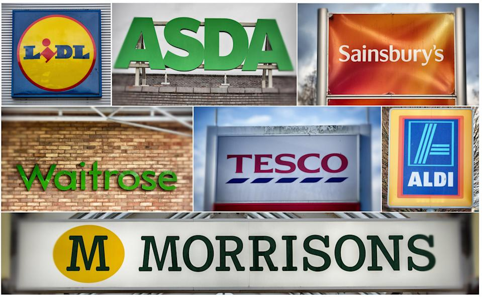 Price wars: The logos of the UK's leading supermarkets (Left to right from top row) Lidl, Asda, Sainsbury's (Middle row left to right) Waitrose, Tesco and Aldi and bottom row Morrisons, are displayed outside various branches on November 18, 2015 in Bristol, England. Photo: Matt Cardy/Getty Images
