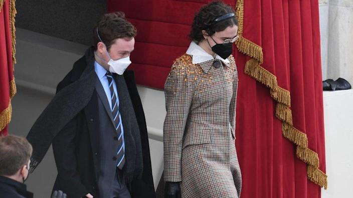 Stepchildren of Vice President-Elect Kamala Harris Cole Emhoff and Ella Emhoff arrive for the inauguration