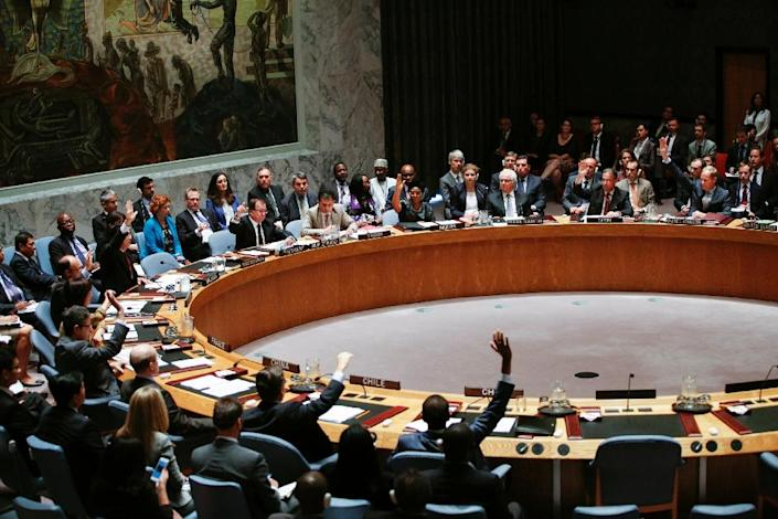 Members of UN Security Council vote during a Security Council meeting at United Nations Headquarters in New York on July 29, 2015 (AFP Photo/Kena Betancur)