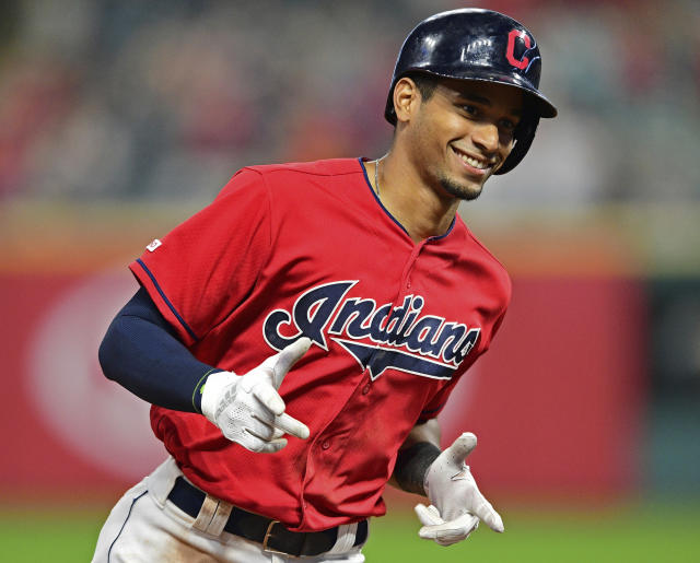 Cleveland Indians' Oscar Mercado runs the bases after hitting a solo home run off Detroit Tigers relief pitcher Victor Alcantara in the seventh inning of a baseball game, Monday, July 15, 2019, in Cleveland. (AP Photo/David Dermer)