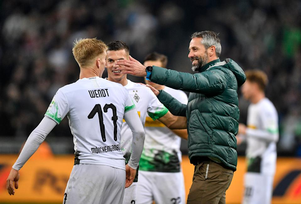 Monchengladbach head coach Marco Rose acknowledging his players after the win over Frankfurt on Sunday