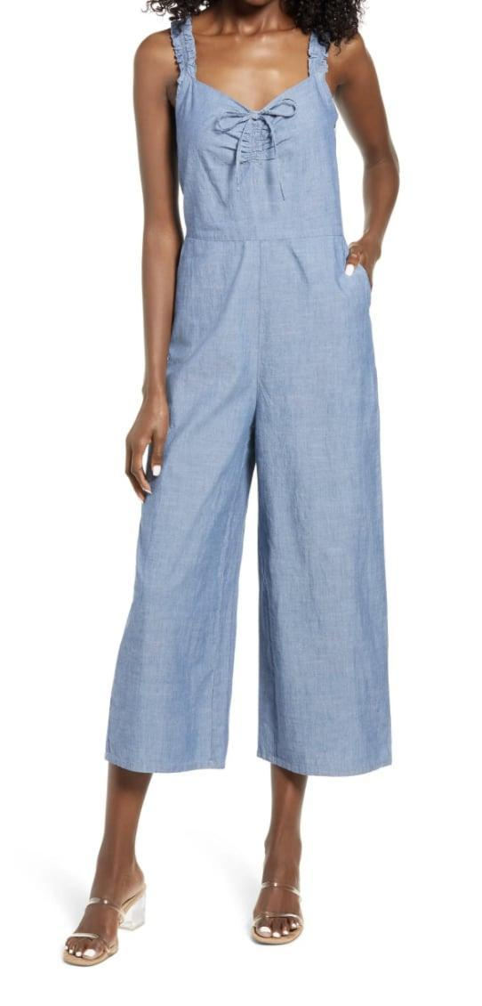 <p>The cotton chambray fabric of this <span>Vero Moda Akela Crop Wide Leg Chambray Jumpsuit</span> ($69) makes it light and airy.</p>