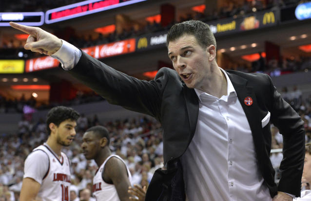 Louisville interim head coach David Padgett will coach in the NIT. (AP Photo/Timothy D. Easley)