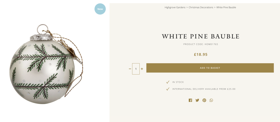The white pine bauble is just under £19. (Highgrove House)