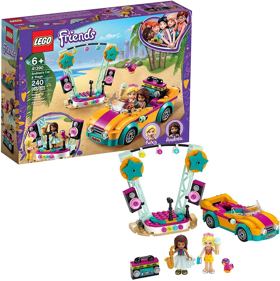 "<p><a href=""https://www.popsugar.com/buy/Lego-Friends-Andrea-Car-Stage-551170?p_name=Lego%20Friends%20Andrea%27s%20Car%20and%20Stage&retailer=amazon.com&pid=551170&price=20&evar1=moms%3Aus&evar9=47244751&evar98=https%3A%2F%2Fwww.popsugar.com%2Ffamily%2Fphoto-gallery%2F47244751%2Fimage%2F47244787%2FLego-Friends-Andrea-Car-Stage&list1=toys%2Clego%2Ctoy%20fair%2Ckid%20shopping%2Ckids%20toys&prop13=api&pdata=1"" class=""link rapid-noclick-resp"" rel=""nofollow noopener"" target=""_blank"" data-ylk=""slk:Lego Friends Andrea's Car and Stage"">Lego Friends Andrea's Car and Stage</a> ($20) has 240 pieces and is best suited for kids ages 6 and up.</p>"