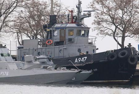 FILE PHOTO: Seized Ukrainian ships are seen anchored in the port of Kerch