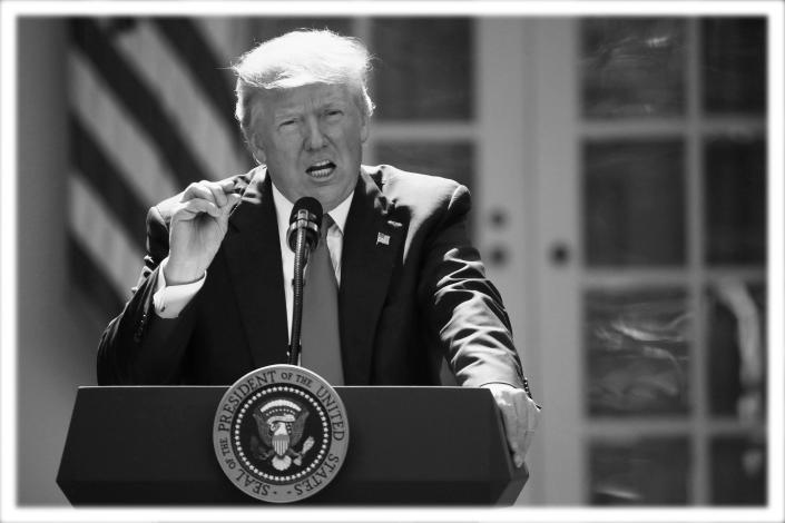 President Trump speaks about the U.S. role in the Paris climate change accord in 2017. (Photo: Pablo Martinez Monsivais/AP; digitally enhanced by Yahoo News)