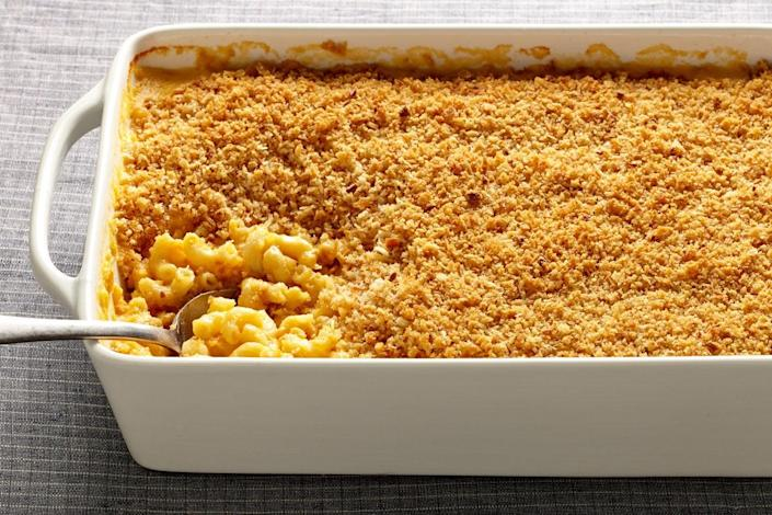 """Sometimes you just need a big pan of creamy macaroni and cheese, topped with crunchy, buttery panko. And sometimes you need it weekly. <a href=""""https://www.epicurious.com/recipes/food/views/our-favorite-macaroni-and-cheese-51255890?mbid=synd_yahoo_rss"""" rel=""""nofollow noopener"""" target=""""_blank"""" data-ylk=""""slk:See recipe."""" class=""""link rapid-noclick-resp"""">See recipe.</a>"""
