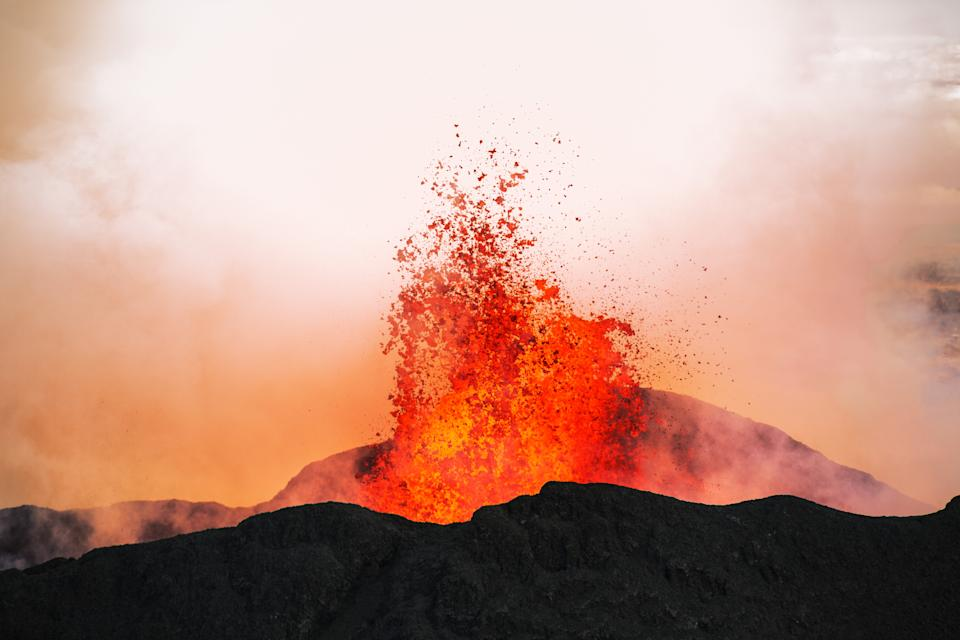 The eruption hurled hundreds of cubic miles of ash and lava into the atmosphere. (Getty)
