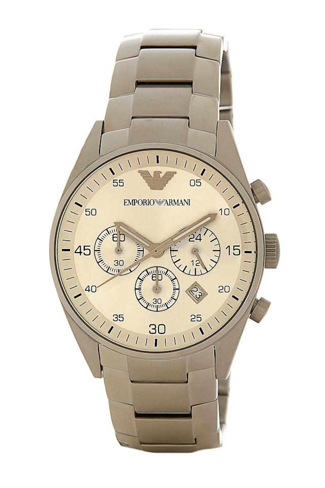"""<p>Wrap up a stainless steel watch that will pair well with every outfit.</p><p>Buy it <a rel=""""nofollow"""" href=""""http://www.gopjn.com/t/8-10134-131940-120793?sid=IS%2CFAS%2CGAL%2C20Men%E2%80%99sWatchesToBuyYourS.O.%28AndStealforYourself%29%2Cbennetta%2C201712%2CT&url=https%3A%2F%2Fwww.nordstromrack.com%2Fshop%2Fproduct%2F1446736%2Femporio-armani-mens-chronograph-bracelet-watch"""">here</a> for $138 (Originally $345).</p>"""
