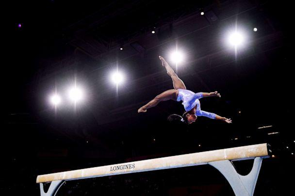PHOTO: Simone Biles of The U.S. competes in Women's Balance beam Final during day 10 of the 49th FIG Artistic Gymnastics World Championships at Hanns-Martin-Schleyer-Halle on Oct. 13, 2019 in Stuttgart, Germany. (Laurence Griffiths/Getty Images, FILE)