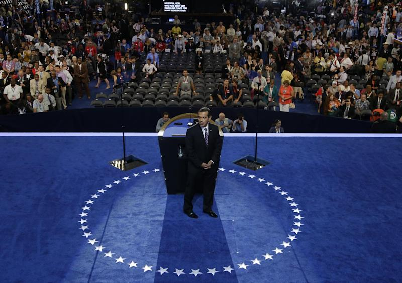 Los Angeles Mayor and Democratic Convention Chairman Antonio Villaraigosa steps away from the podium during the Democratic National Convention in Charlotte, N.C., on Wednesday, Sept. 5, 2012. (AP Photo/Charlie Neibergall)