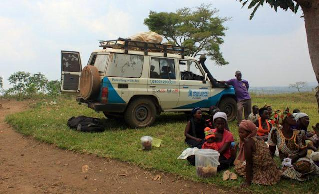An MSI vehicle sits outside a pop-up clinic in rural Uganda. (Photo: Mikaela Conley/Yahoo News)