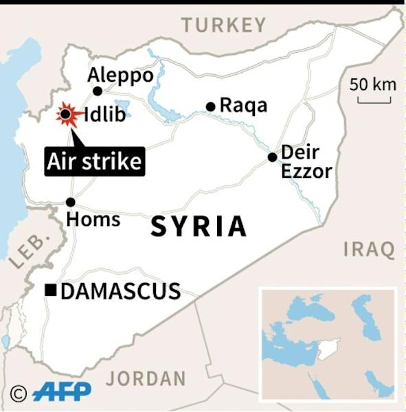 Map of Syria locating Idlib, where an air strike hit a school on Wednesday, according to the Syrian Observatory for Human Rights