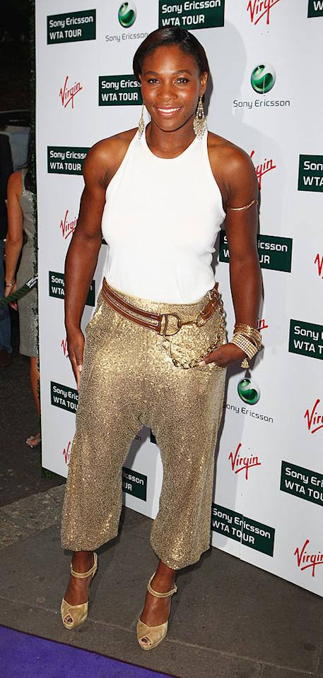"Serena's Ralph Lauren sequined harem pants ... hot or not? Gareth Cattermole/<a href=""http://www.gettyimages.com/"" target=""new"">GettyImages.com</a> - June 18, 2009"