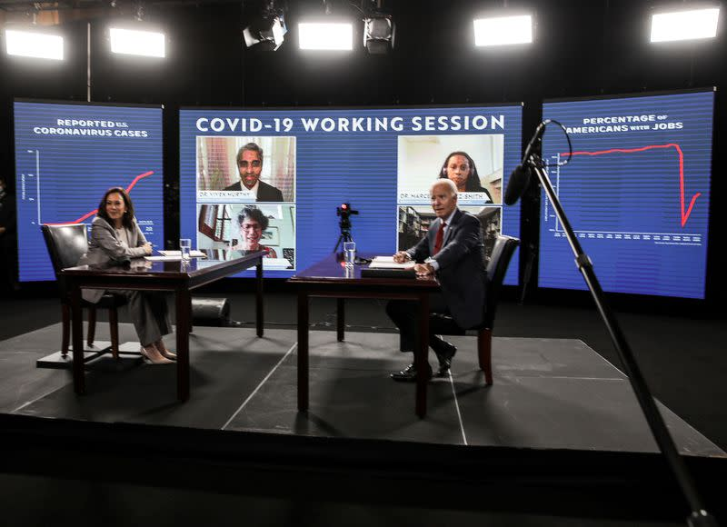 Democratic presidential candidate Biden and vice presidential candidate Harris attend coronavirus briefing while campaigning in Wilmington, Delaware