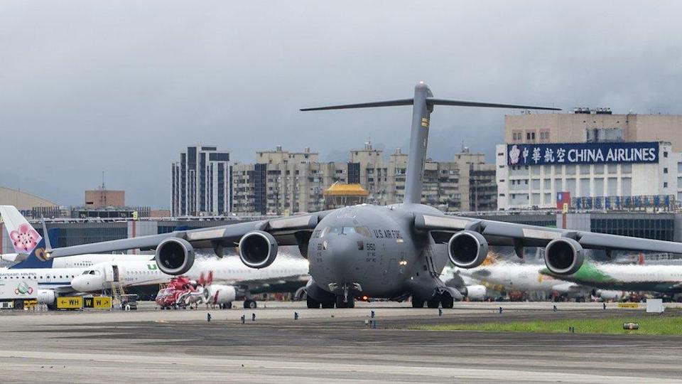 TAIPEI, TAIWAN - 2021/06/06: U.S. Air Force C-17 Globemaster III transport aircraft landed at Taipei Shongshan Airport. The United States will donate 750,000 COVID-19 vaccine doses to Taiwan as part of the countrys plan to share millions of jabs globally.