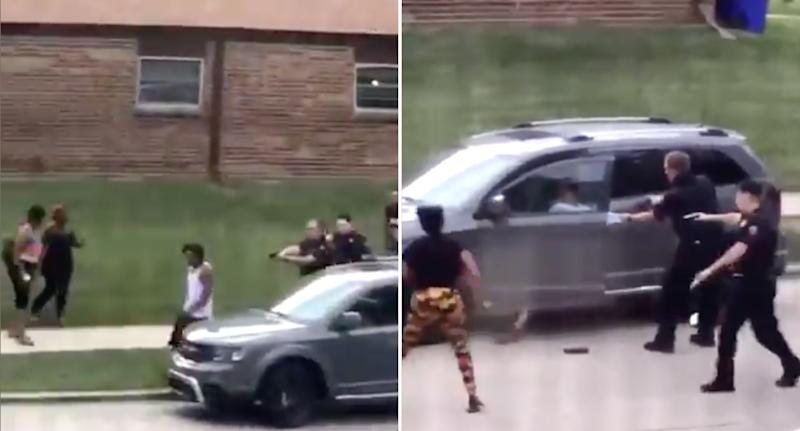 Left, the black man is seen walking away from two Kenosha cops as they raise their guns. Right, the cops appear to open fire as the black man leans into a car. Source: Twitter