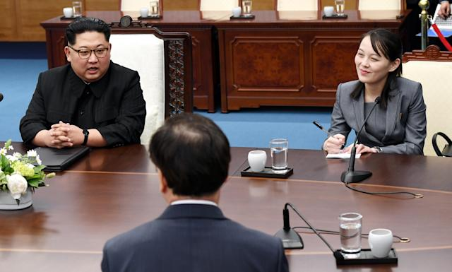 North Korea's Kim Yo Jong sits beside her brother, Kim Jong Un, during peace talks with South Korea. (Photo: Getty Images)