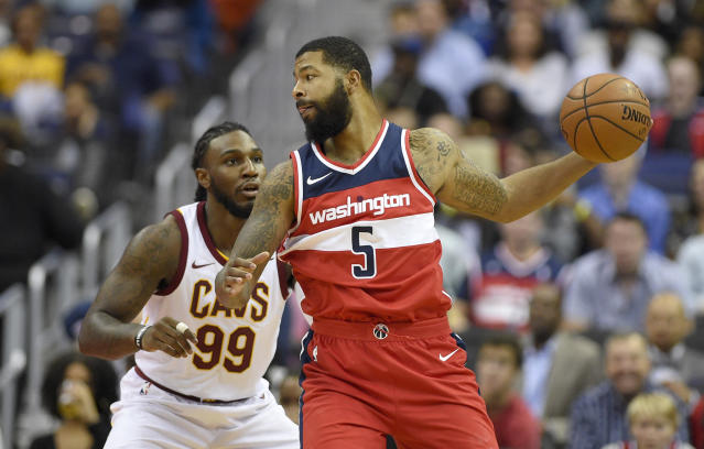 "<a class=""link rapid-noclick-resp"" href=""/nba/teams/was/"" data-ylk=""slk:Washington Wizards"">Washington Wizards</a> forward <a class=""link rapid-noclick-resp"" href=""/nba/players/4894/"" data-ylk=""slk:Markieff Morris"">Markieff Morris</a> could provide value in a fantasy trade at a discount price. (AP Photo/Nick Wass)"