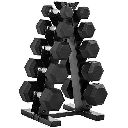 """<p><strong>CAP Barbell</strong></p><p>amazon.com</p><p><strong>$686.99</strong></p><p><a href=""""https://www.amazon.com/dp/B07C9QTKNZ?tag=syn-yahoo-20&ascsubtag=%5Bartid%7C2140.g.29367992%5Bsrc%7Cyahoo-us"""" rel=""""nofollow noopener"""" target=""""_blank"""" data-ylk=""""slk:Shop Now"""" class=""""link rapid-noclick-resp"""">Shop Now</a></p><p>Adjustable dumbbells aren't for everyone. But if you still want the compact nature and variety they offer, minus the dials and levers, the Cap Dumbbell set is for you. It ranges from 15 to 120 pounds. And it comes with an upright standing rack to maximize floor space in your home gym. </p><p><strong>Reviewer Rave:</strong> """"These are some of the nicest dumbbells I've ever seen, let along owned. The stand is perfect for compact storage. The rubber helps it from slipping or rolling and the grips don't hurt a bare hand. This was one of my best purchases for our home fitness!"""" — <em>Amanda, <a href=""""https://www.amazon.com/gp/customer-reviews/R1IJUHOB5KI8WG/"""" rel=""""nofollow noopener"""" target=""""_blank"""" data-ylk=""""slk:amazon.com"""" class=""""link rapid-noclick-resp"""">amazon.com</a></em></p>"""