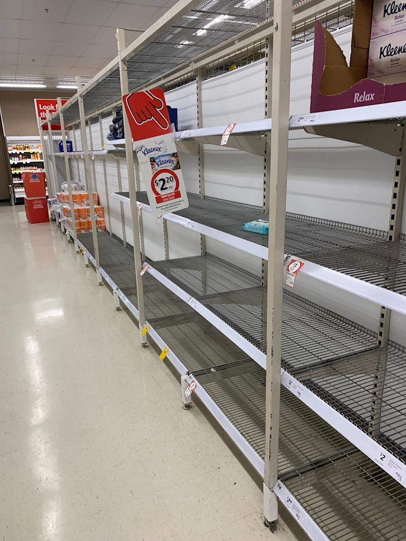 A photo inside Coles Umina where there are empty shelves in the toilet paper aisle as people panic-buy amid the coronavirus outbreak.