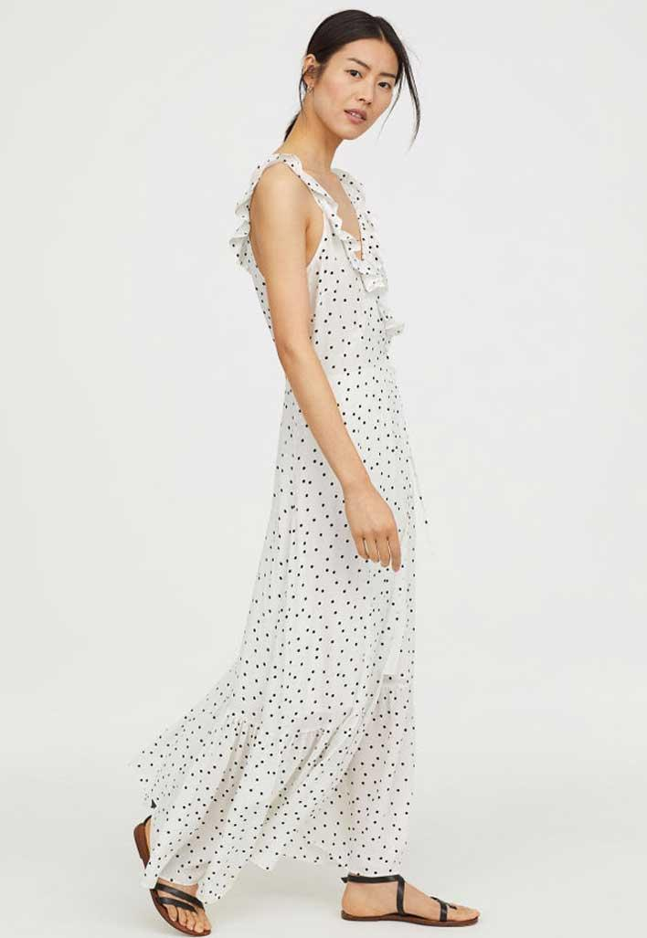 White ruffle polka dot maxi dress.