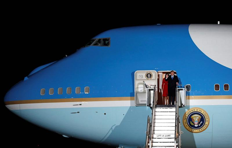 Donald Trump prepares to disembark from Air Force One (AFP via Getty Images)